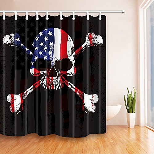 NYMB Pirate Skull Flag Background 69X70 inches Mildew Resistant Polyester Fabric Shower Curtain Set Fantastic Decorations Bath (Cheap Pirate Flags)