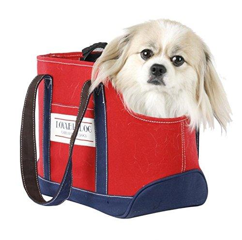 Red LOHUA Pet Carrier and Feeding Bag 2in1, Transport Deposit Feeding Smaller Bag.