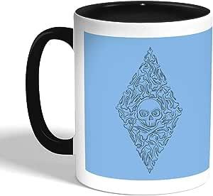 كوب سيراميك للقهوة بتصميم - عظام و جمجمة ، اسود