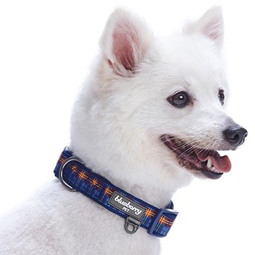 Image of Blueberry Pet 7 Patterns Soft & Comfy Scottish Highland Impression Abstract Plaid Designer Padded Dog Collar, Medium, Neck 14.5