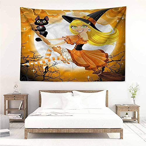 Sunnyhome Bedroom Tapestry,Halloween Cute Witch,Bedspread Yoga Mat Blanket,W84x54L ()