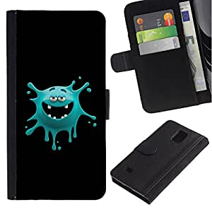 Planetar® Colorful Pattern Flip Wallet Leather Holster Protective Skin Case Cover For Samsung Galaxy Note 4 IV / SM-N910 ( Funny Monster Face )