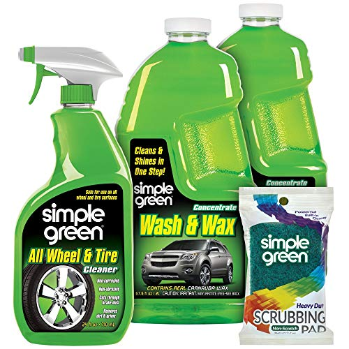 SIMPLE GREEN Wash and Wax (67.6oz) Bundle with (24oz) All Wheel and Tire Degreaser & Heavy Duty Non-Scratch Tire Scrubbing Pad (4 Items)