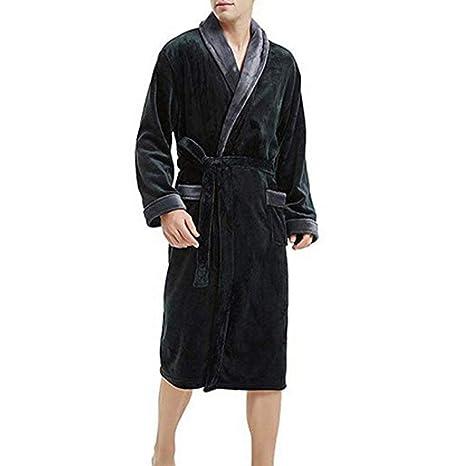 POLP Albornoz Hombre camisón casa Pijamas de una Pieza Batas Albornoz para Hombres Súper Suave en Bata de baño Abrigo Albornoz Hombre Ducha Mezcla de ...