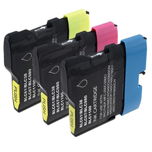 Dcp Color 165c Brother (Amsahr LC61 Compatible Replacement Ink Cartridges for Brother DCP-165C, MFC290C, 3 Pack, Color Ink)