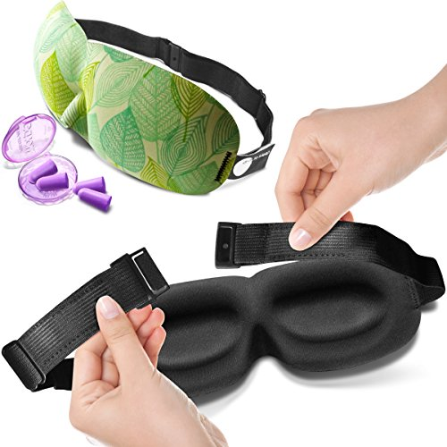 Contoured Eye Mask with ear plugs for Women
