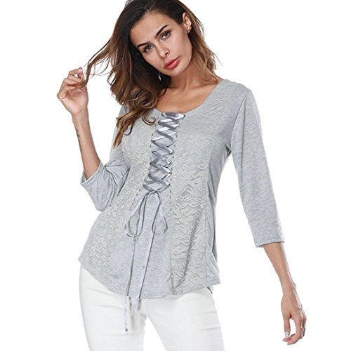 MOMEPE Women Lace Crossover Ribbon Stitching Long Sleeve Tunic T-Shirt Gray XL by MOMEPE