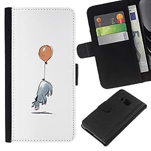 HTC One M7 Modelo colorido cuero carpeta tirón caso cubierta piel Holster Funda protección - Minimalist Cartoon Kids