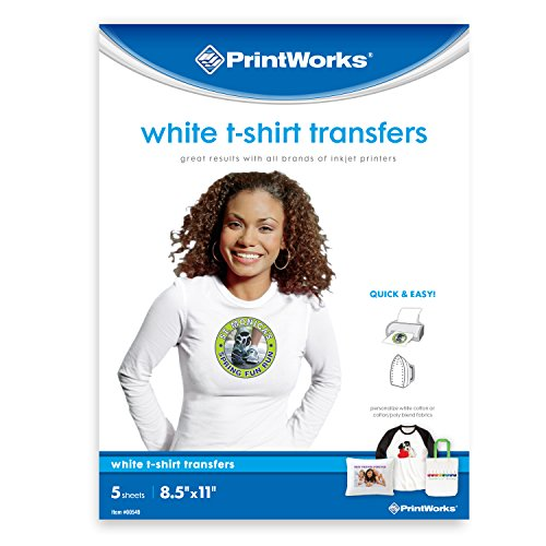 Printworks White T-Shirt Transfers, Perfect for DIY Christmas Presents and Crafts, For Use on White Fabrics Only, Photo Quality, For Inkjet Printers, 5 Sheets, 8 ½