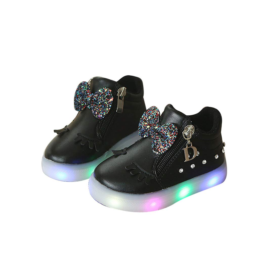 edv0d2v266 Fashion Baby Toddler Kids Girls Boys Light up Led Luminous Casual Shoes(Black 25/8.5 M US Toddler)