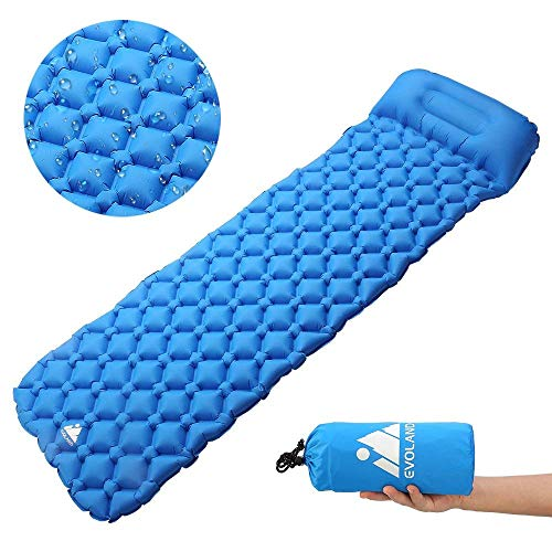 Evoland Camping Sleeping Pad with Pillow for Camping, Backpacking, Hiking, Lightweight, Waterproof, Compact, Durable, Storage Bag Included (Blue)