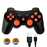 Connyam Wireless Controller for PS3, Bluetooth Double Shock Sixaxis Remote Gamepad for Sony PlayStation 3 PS3, Charging Cable and 2 Thumb Grip Caps Included
