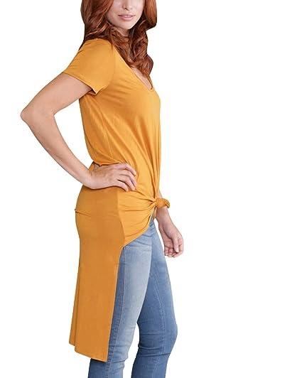 Mujeres Del Color Sólido Tes De Las Camisetas De La Floja Blusa Manga Corta Con Cuello