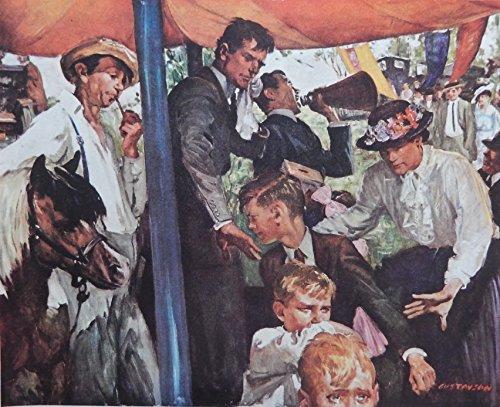 L.R. Gustavson, 40's Color Illustration, print art (Auction off, kids pony) Original Vintage Rare 1946 Saturday Evening Post Magazine Art