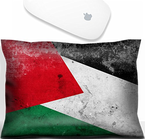 (Luxlady Mouse Wrist Rest Office Decor Wrist Supporter Pillow Natural Rubber Mousepad. IMAGE: 31045837 Palestine Flag with a vintage and old look)