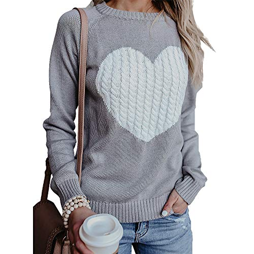 Exlura Women's Casual Sweater Heart Pattern Patchwork Pullover Long Sleeve Crew Neck Knits Loose Top Grey ()