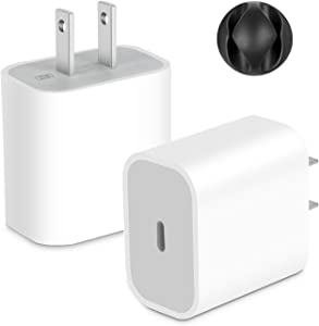 USB C Charger, Swadaws 2-Pack 20W USB‑C Power Adapter PD Wall Plug Fast Charging Block Type c Charger for iPhone 12 Mini 12 Pro Max SE 11 Pro Max XR/XS/X, AirPods, iPad Pro, Pixel, Samsung Galaxy S10