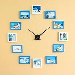 Yxx max Wall Clock DIY Frame Clock, DIY Wall Clock Modern Design DIY Photo Frame Clock Plastic Art Picture Clock Unique Klok Home Decor - Make Your Own Multi Photos Household Clocks (Color : C)
