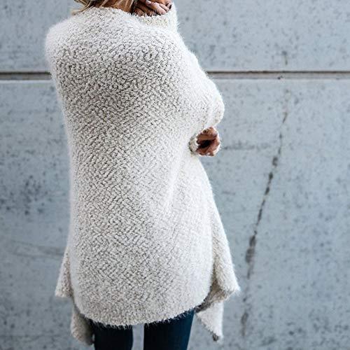 Parka Peluche Knit Giubbotto Cappuccio Solido Di Lunghe Manica Cardigan Cappotto White Con Maniche Invernale Piumino A Donna Lunga Irregolare Morwind Colore wqFX6HxC6