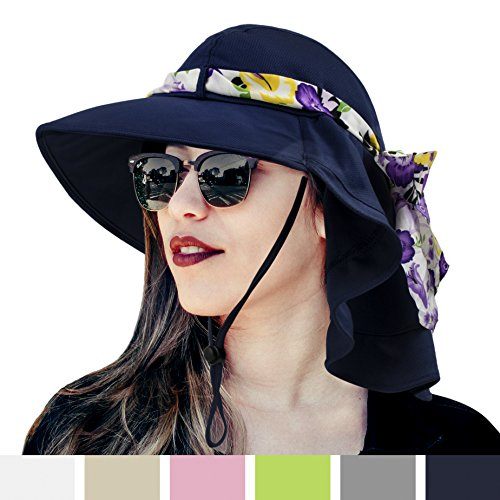 (Womens Sun Hat, Summer UV Protection Outdoor Hat with Wide Brim, Neck Cover Flap, and Adjustable Chin Strap | UPF50 + Breathable Foldable Ladies Cap for Gardening, Hiking, Fishing (Navy))