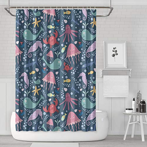 usiniliea Black Shark Animal Party Shower Curtain with Reinforced Buttonholes Hooks Set Stylish Anti-Bacterial for Men's Living Room