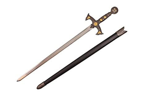 Amazon com: Wuu Jau K-5518 Medieval Crusader Sword, 38 25
