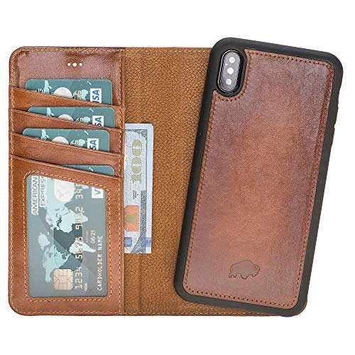 Burkley Case Detachable Leather Wallet Case for Apple iPhone Xs MAX with Magnetic Closure and Premium Snap-on | Book Style Cover with Card Holders and Kickstand (Burnished Tan)