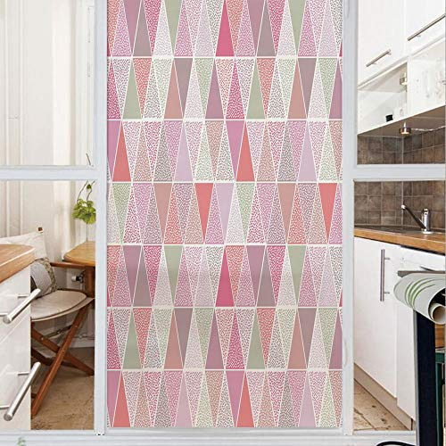 Decorative Window Film,No Glue Frosted Privacy Film,Stained Glass Door Film,Colorful Geometric Design Triangles with Polka Dots Octagon Shape Pattern Triangular Decorative,for Home & Office,23.6In. by - Lighthouse Octagon Mirror