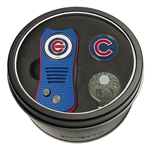 Team Golf MLB Chicago Cubs Gift Set Switchblade Divot Tool, Cap Clip, & 2 Double-Sided Enamel Ball Markers, Patented Design, Less Damage to Greens, Switchblade -