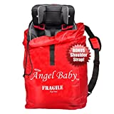 Angel Baby Car Seat Travel Bag - DURABLE DOUBLE STRENGTH Polyester with Shoulder Strap, Water Resistant, Lightweight - Great for Airplane Gate Check and Storage - Fits Carseats, Booster & Infant Carriers