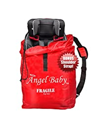 Angel Baby Car Seat Travel Bag Cover - DURABLE Polyester with SHOULDER STRAP, Water Resistant, Lightweight - Great for Airport Gate Check and Storage - Fits Carseats, Booster & Infant Carriers