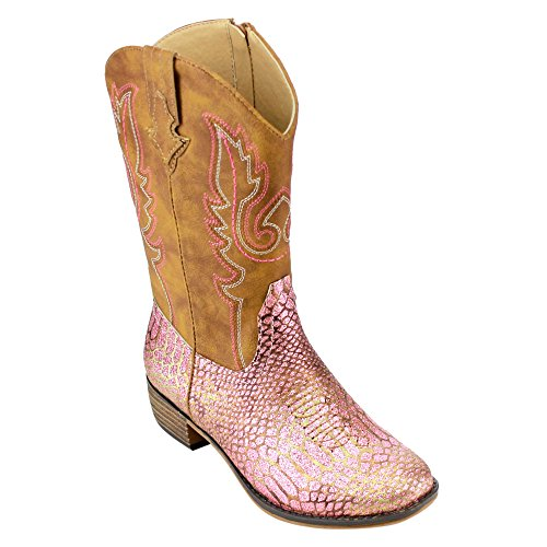 BETANI FE24 Girl's Kids Western Embroidered Mid Calf Cowgirl Block Heel Boots, Color:PINK, Size:11 M US Little (Pink Cowgirl Boots Girls)