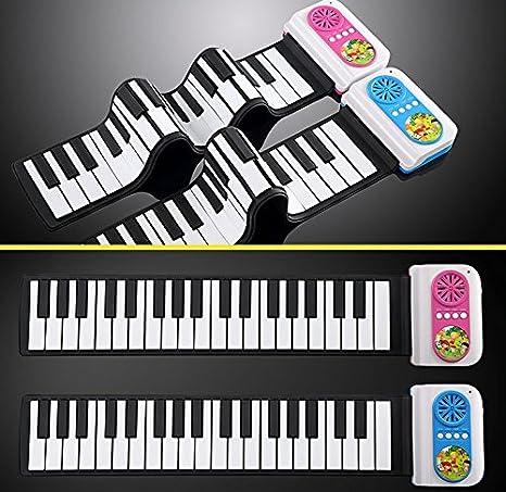 Teclado de Piano 37 Teclas Portátil Goma Flexible Silicio Enrollable Instrumento Educativo para Estudiantes de Niños