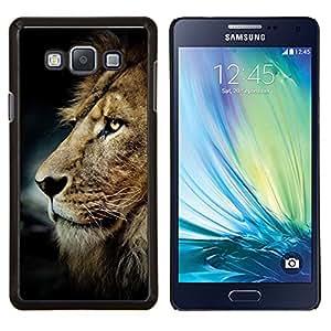 Sucias León pelo melena de oro de Brown- Metal de aluminio y de plástico duro Caja del teléfono - Negro - Samsung Galaxy A7 / SM-A700