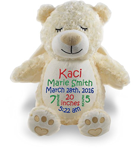 Personalized Stuffed Angel Bear with Embroidered Baby Block in Red, Green, and (Personalized Angel Bear)