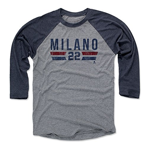 500 LEVEL's Sonny Milano 3/4th Sleeve Baseball T-Shirt XL Navy / Heather Gray - Sonny Milano Columbus Font B - Columbus Hockey Fan Gear Officially Licensed by the NHL Players Association (Milano Fans)