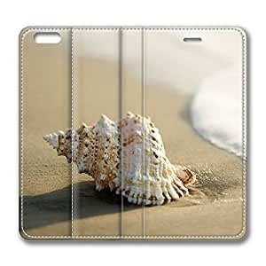 iPhone 6 Plus Case, Fashion Customized Protective PU Leather Flip Case Cover Whelk Shell 3 for New Apple iPhone 6(5.5 inch) Plus