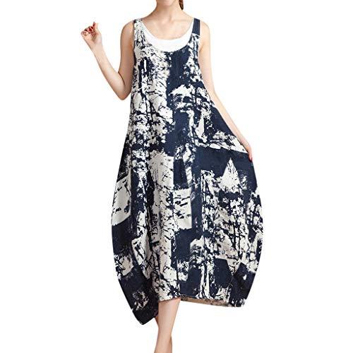 Women Sveless Floral Print Loose Long Beach Sundress Fashion Cotton Linen Maxi Dress Casual a-line Dress Navy