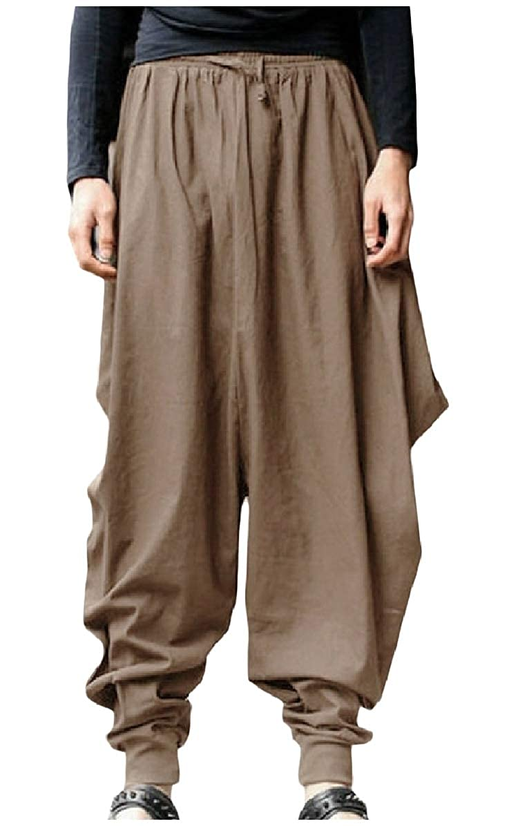 Zimaes-Men Vintage Relaxed-Fit Harem Pants Casual Knickers Casual Trousers
