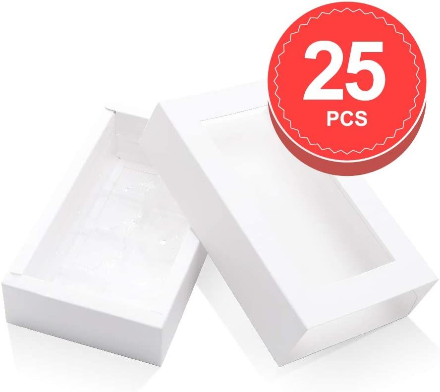 BAKIPACK Truffle Box, Chocolate Box Packaging, Candy Boxes with 8-Piece Plastics Tray(Tray Size with 5.75x2.75 Inches Pull Out Packing with Clear Window Sleeves White 25 PCS