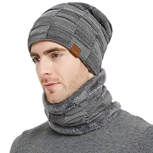 REDESS Beanie Hat Scarf Set for Men and Women,Winter Warm Hats Knit Slouchy Thick Skull Cap with Neck Warmer