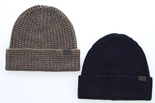 Coach 84091 100% Cashmere Knit Winter Beanie Hat, Vicuna or Navy (Navy Blue) (Cashmere Vicuna)