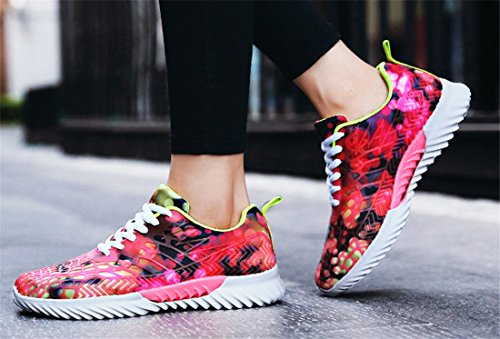 Newzcers Respirabile Walking Couple Camouflage Mesh Scarpe Fitness Casual Unisex Sportive Fashion Rosso Shoes arztwaHq