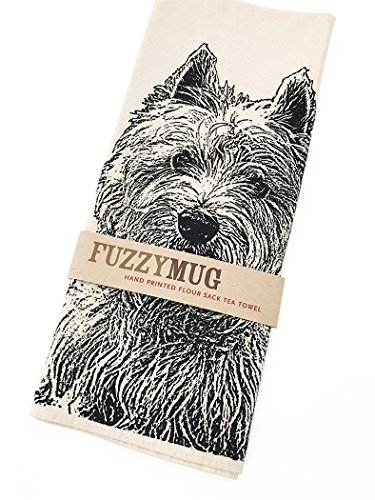 (Westie, West Highland Terrier Tea Towel in Black - Hand Printed Flour Sack Tea Towel, Dish Towel, Kitchen Towel)