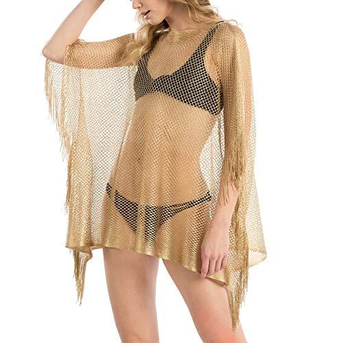 Me Plus Women Fashion Summer Beach Metallic Net -