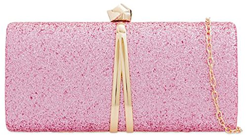 Clutch Box Glitter Evening Bag Rigid Handbag Ladies Pink Banquet Designer qYwE1q