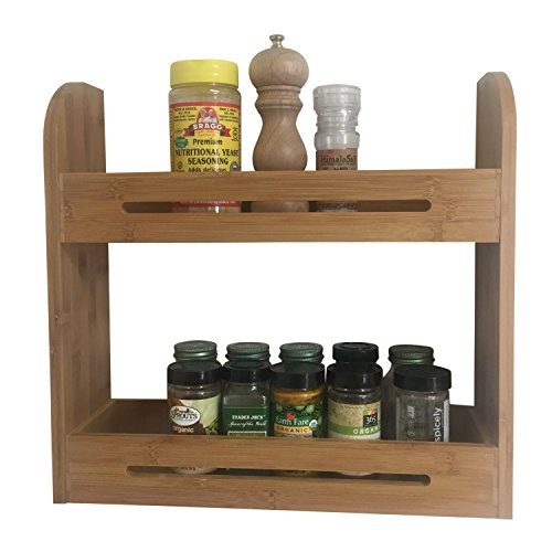 Large Bamboo Spice Rack Two Tiered Wooden Shelf Organizer For Counter Top and Wall Mounted Use | 4 Inch Deep Shelves Fits All Big Sized Bottles Of Herbs and Spices | Healthy Ayurveda Spices eBook Incl