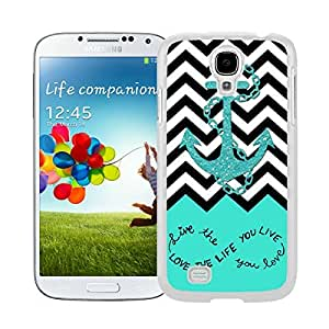 Lmf DIY phone caseBINGO Unique Live The Life You Love, Love The Life You Live. Turquoise Black and White Chevron With Anchor Watercolor Samsung Galaxy S4 i9500 Case White CoverLmf DIY phone case