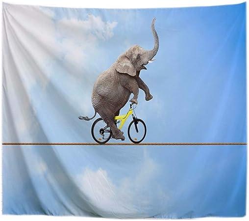 A.Monamour Tapices Elefante Africano Andar En Bicicleta En Una Cuerda Gracioso Animal De Dibujos Animados con Temas De Impresión Tapicería De Tela De Poliéster Tapices De Pared 180x200cm: Amazon.es: Hogar