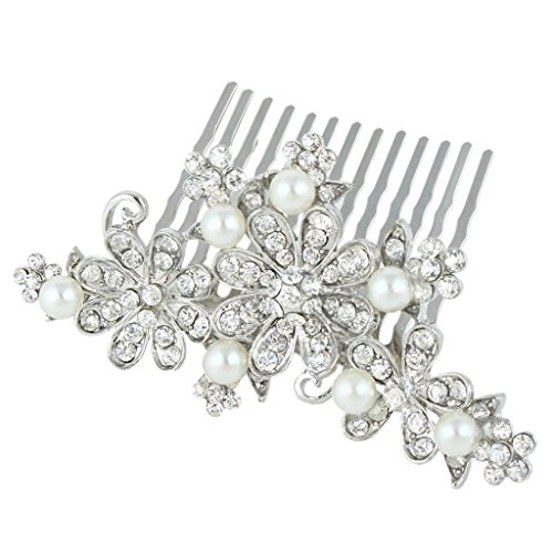 Ever Faith - Cristal Autrichien Perle Artificielle Bouquet Mariage Peignes Clair N01318-1